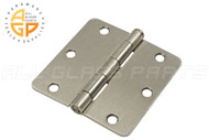 3-1/2'' x 3-1/2'' Butt Hinge (5/8'' Radius Corners) (Regular Pin) (Satin Chrome)
