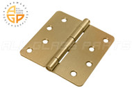 4'' x 4'' Butt Hinge (1/4'' Radius Corners) (Non-removable Pin) (Polished Brass)