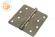 4'' x 4'' Butt Hinge (1/4'' Radius Corners) (Non-removable Pin) (Satin Nickel)