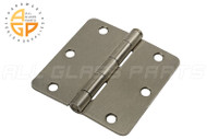 Spring Hinge (Butt Hinge) (5/8'' Radius Corners) (Spring Loaded) (Satin Nickel) (3-1/2 x 3-1/2'')
