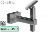 Square Line Adjustable Handrail Bracket Glass To 1.5'' - 38mm Tube Material