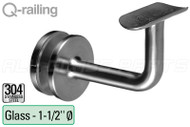 Bracket For Round Profile Handrail (Round Profile, Non-adjustable, Glass Mount)