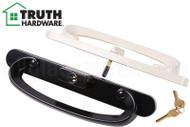 Sliding Glass (Patio) Door Handle w Key (Truth Hardware) (Multiple Hole Spacing) (Beige/Black)