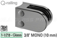 "Glass Clamp for Round Profile Railing (Round Style) (3/8"" Glass Thickness) (1-1/2"" Baluster)"