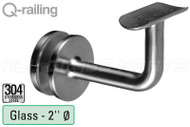 "Bracket For Round Profile Handrail (Round Profile, Non-adjustable, Glass Mount) (2"" tubing)"