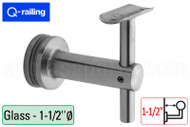 Bracket For Round Profile Handrail (Round Profile, Height Adjustable, Glass Mount, 1-1/2'' clearance distance) (1-1/2'' Diameter)