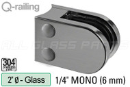 "Glass Clamp for Round Profile Railing (Round Style) (1/4"" Glass Thickness) (2"" Baluster)"