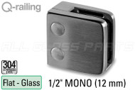 "Glass Clamp for Square Railing, Flat Surfaces (w Removable Security Plate) (1/2"" (12mm) Monolithic Tempered)"