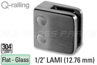 "Glass Clamp for Square Railing, Flat Surfaces (w Removable Security Plate) (1/2"" (12mm) Laminated)"
