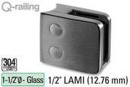 Glass Clamp for Round Profile Railing (w Removable Security Plate) (1.5'' Baluster Dia.) (1/2'' (12.76mm) Laminated)