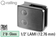 Glass Clamp for Round Profile Railing (w Removable Security Plate) (2'' Baluster Dia.) (1/2'' (12.76mm) Laminated)