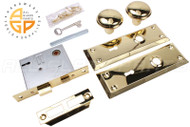 Door Knob w Mortise Lock Set (w Key) (Interior Use Only) (Brass)