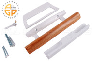 "Sliding Glass Door Handle (3-15/16"" Hole Spacing) (White) (Wooden Handle)"