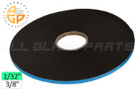 "Foam Glazing Tape (Adhesive, Double Sided) (1/32"" x 3/8"" Length: 165 Ft.) (Black)"