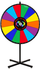 48 Inch Spin to Win Color Dry Erase Prize Wheel with 14 sections