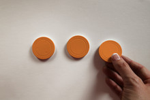 Mini Prize Drop Pucks- (Set of 3 orange playing pucks)