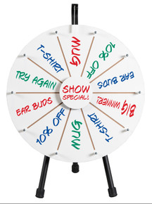 "21"" White Dry Erase Prize Wheel on tripod table stand"