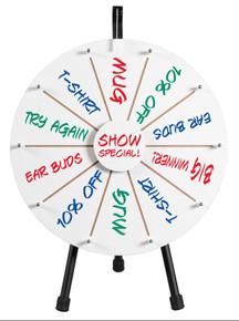"""21"""" White Dry Erase Prize Wheel on tripod table stand"""