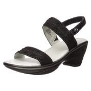 Jambu Women's Daisy Leather Wedge Sandal Black