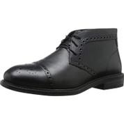 Dunham Men's Gavin-dun Leather Medallion-Toe Man Made Stacked Heel Chukka Boot