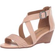 Lucky Brand Women's Jenley2 Leather Open Toe Memory Foam Wedge Sandal