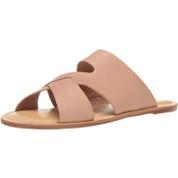 Lucky Brand Women's Leelan Leather Open Toe Slip On Flat Slide Sandal