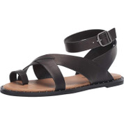 Lucky Brand Women's Farran Leather Memory Foam Man Made Ankle Strap Flat Sandal