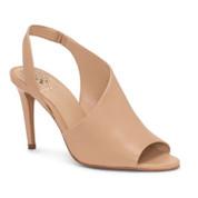 Vince Camuto Women's Crasantha Leather Peep Toe Slip-On Stiletto Heel Sandal