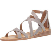 Lucky Brand Helenka Women's Leather Open-Toe Stacked Wedge Heel Sandal