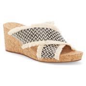 Lucky Brand Women's Khillian Synthetic Open Toe Woven Wedge Slide Sandal