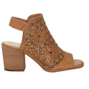 Vince Camuto Women's Kalison Leather Stacked Heel Open Toe Ankle Strap Sandal