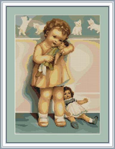 Girl With Doll Petit Cross Stitch Kit By Luca S