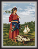 Girl With Geese Petit Cross Stitch Kit By Luca S
