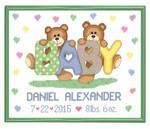 Teddy Bear Birth Announcement Cross Stitch Kit Janlynn