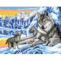 Winter Wolves with Cubs Canvas