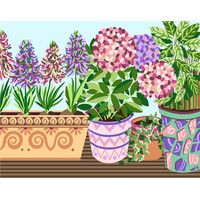 Flower Pots Tapestry Canvas By Royal Paris