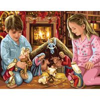 Children and Nativity Scene Tapestry Canvas By Royal Paris