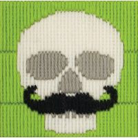 Skull with Moustache Lonh Stitch Kit by Anchor