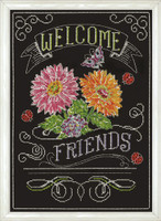 Welcome Friends Chalkboard Cross Stitch Kit by Design Works