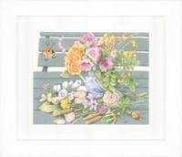 Flowers on the Bench Cross Stitch Kit by Lanarte