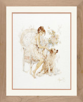 Girl in chair with Dog Cross stitch Kit by Lanarte