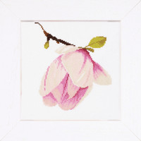 Magnolia Bud Cross stitch Kit on evenweave by Lanarte