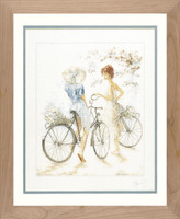 Girls on Bicycle Cross Stitch Kit by Lanarte
