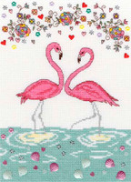 Love Flamingo Cross Stitch Kit By Bothy Threads