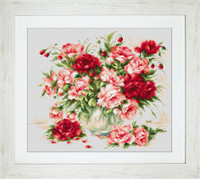 Peonies Cross Stitch Kit by Luca-S (18 ct)