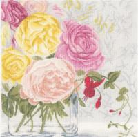 Pastel Flowers Cross Stitch kit By Lanarte