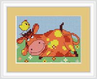 Cow Mini Starter Cross Stitch Kit
