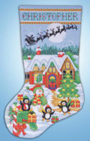 Penguin Party Stocking Cross Stitch Kit by Design Works