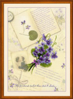 Love Letters and Violets Cross Stitch Kit by Riolis