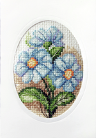 Blue Flowers Cross Stitch Card Kit by Orchidea